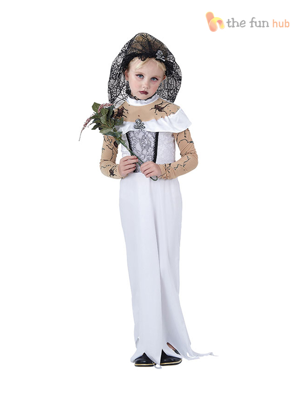 Girls-Ghost-Zombie-Corpse-Bride-Fancy-Dress-Up-  sc 1 st  eBay & Girls Ghost Zombie Corpse Bride Fancy Dress Up Halloween Book Week ...