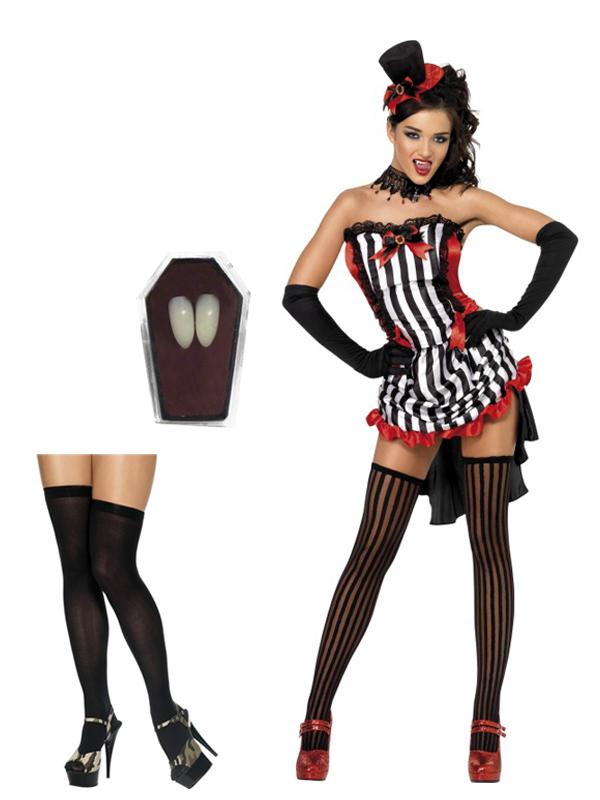 LADIES FEVER VAMPIRE FANCY DRESS COSTUME WOMENS HALLOWEEN BURLESQUE OUTFIT HAT