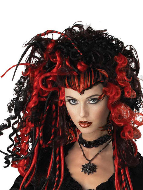 Ladies Black & Red Gothic Vampire Wig