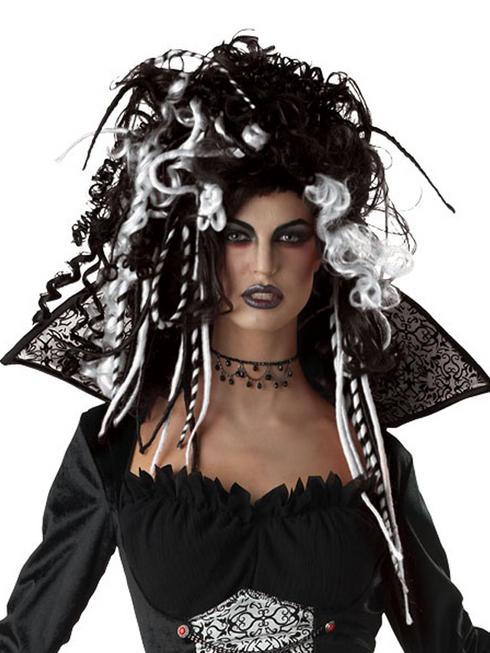 Ladies Black & White Gothic Vampire Wig
