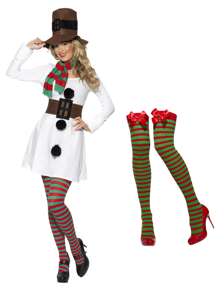 Ladies Miss Snowman Costume with Tights