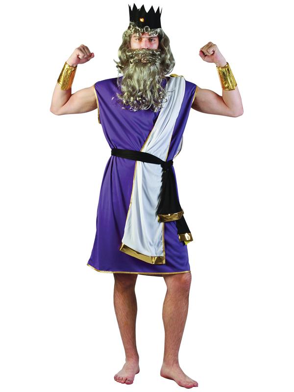 Mens King Neptune Costume Wig Zeus Greek God Roman Legend ...