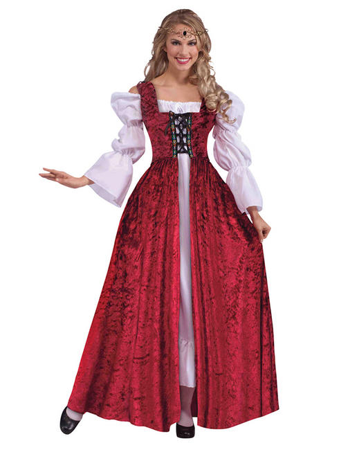Ladies Red Medieval Gown