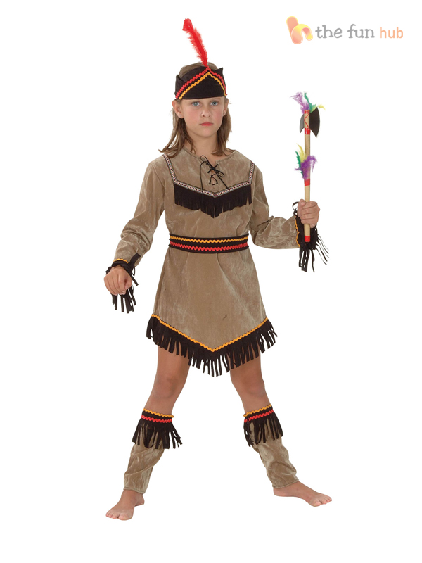 Details about Girls Boys Red Indian Costume Fancy Dress Book Week Native Pocahontas Kids