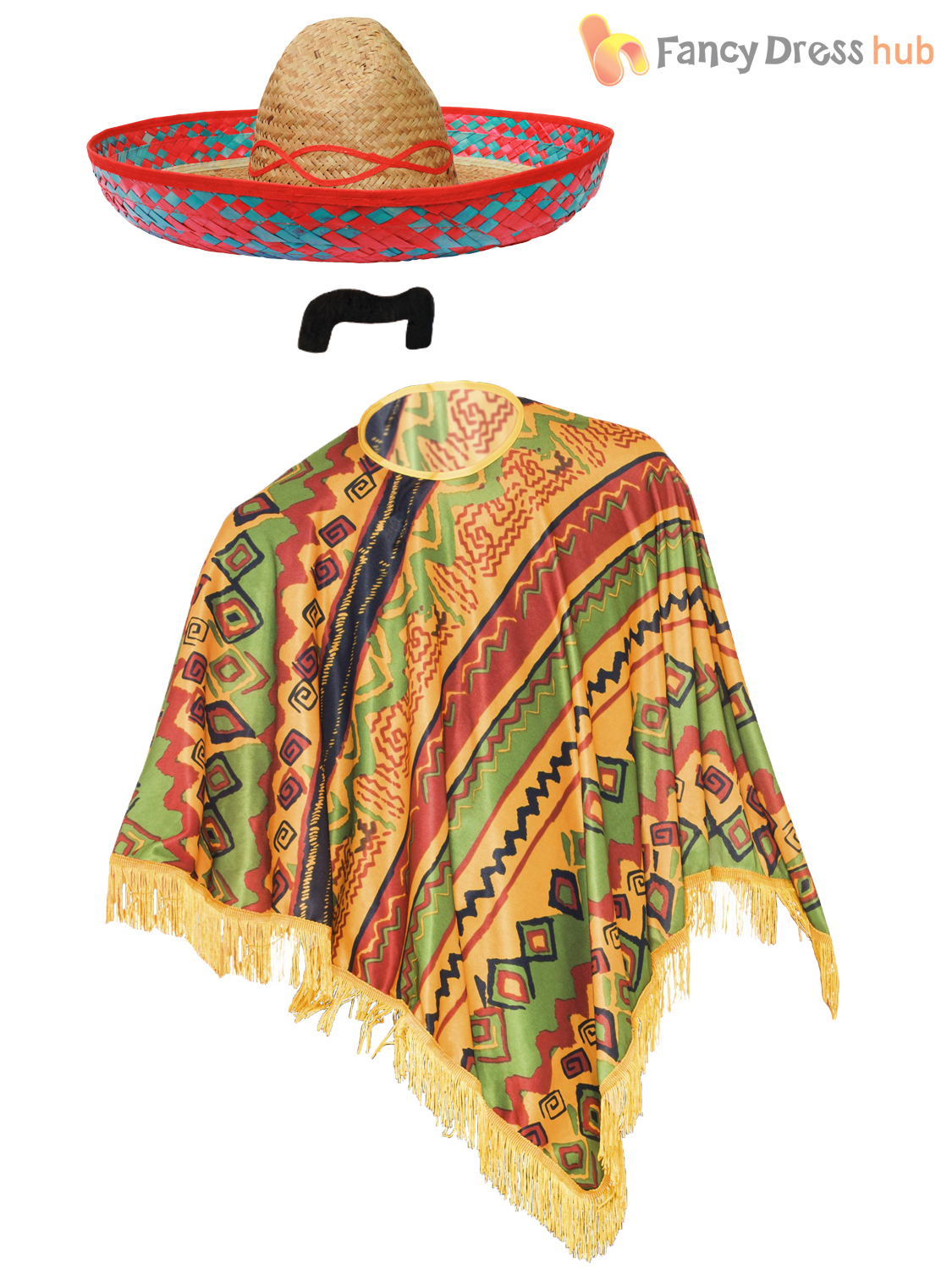 Mexican-Poncho-Mexico-Fancy-Dress-Bandit-Cowboy-Stag-Do-Outfit-Accessories