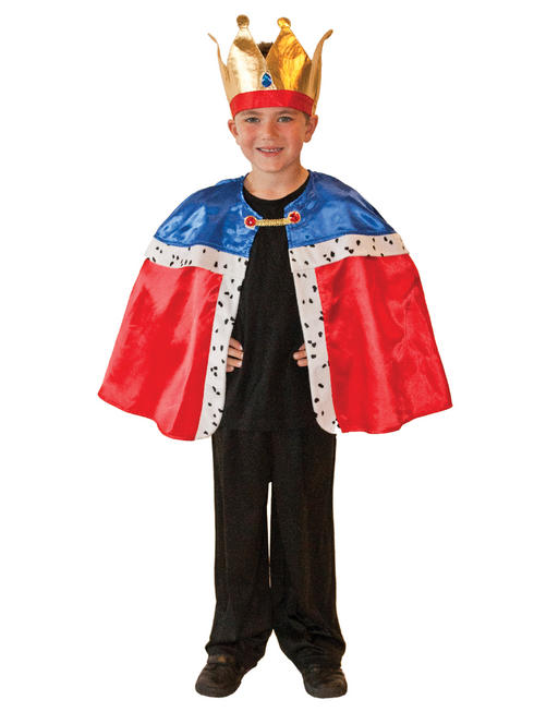Boy's Royal King Cape & Crown Costume
