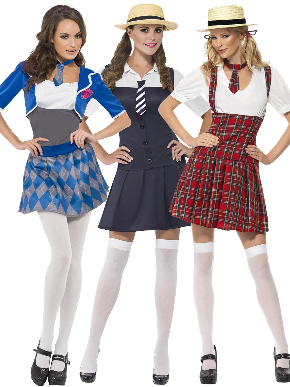 Ladies/' St Trinians fancy dress adult women/'s school girl fancy dress outfit