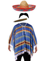 Blue Mexican Poncho with Accessories