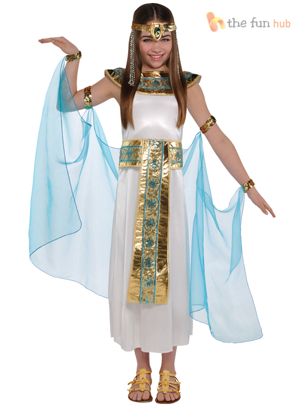 Girls-Cleopatra-Costume-Greek-Goddess-Egyptian-Queen-Fancy-  sc 1 st  eBay & Girls Cleopatra Costume Greek Goddess Egyptian Queen Fancy Dress ...