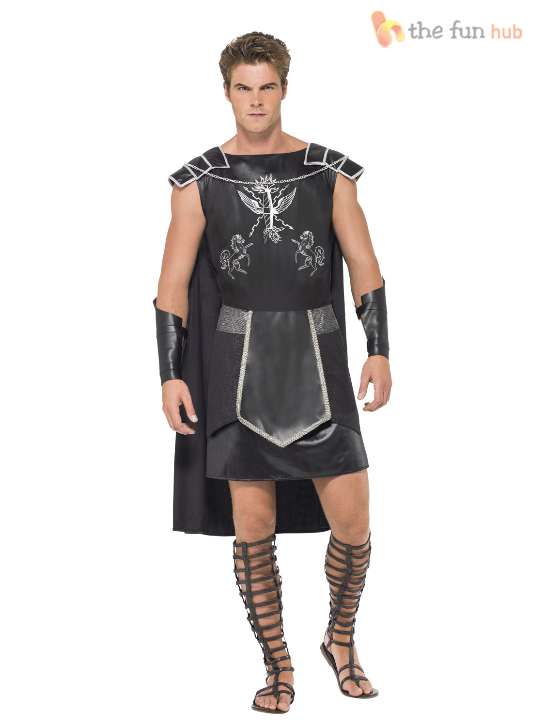 Adult-Dark-Gladiator-Costume-Mens-Spartan-Warrior-Fancy-  sc 1 st  eBay : mens spartan costume  - Germanpascual.Com