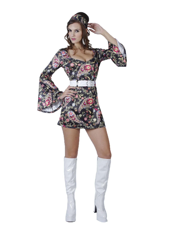 Ladies 1960s 1970s Hippy Fancy Dress Costume Hippie Flower