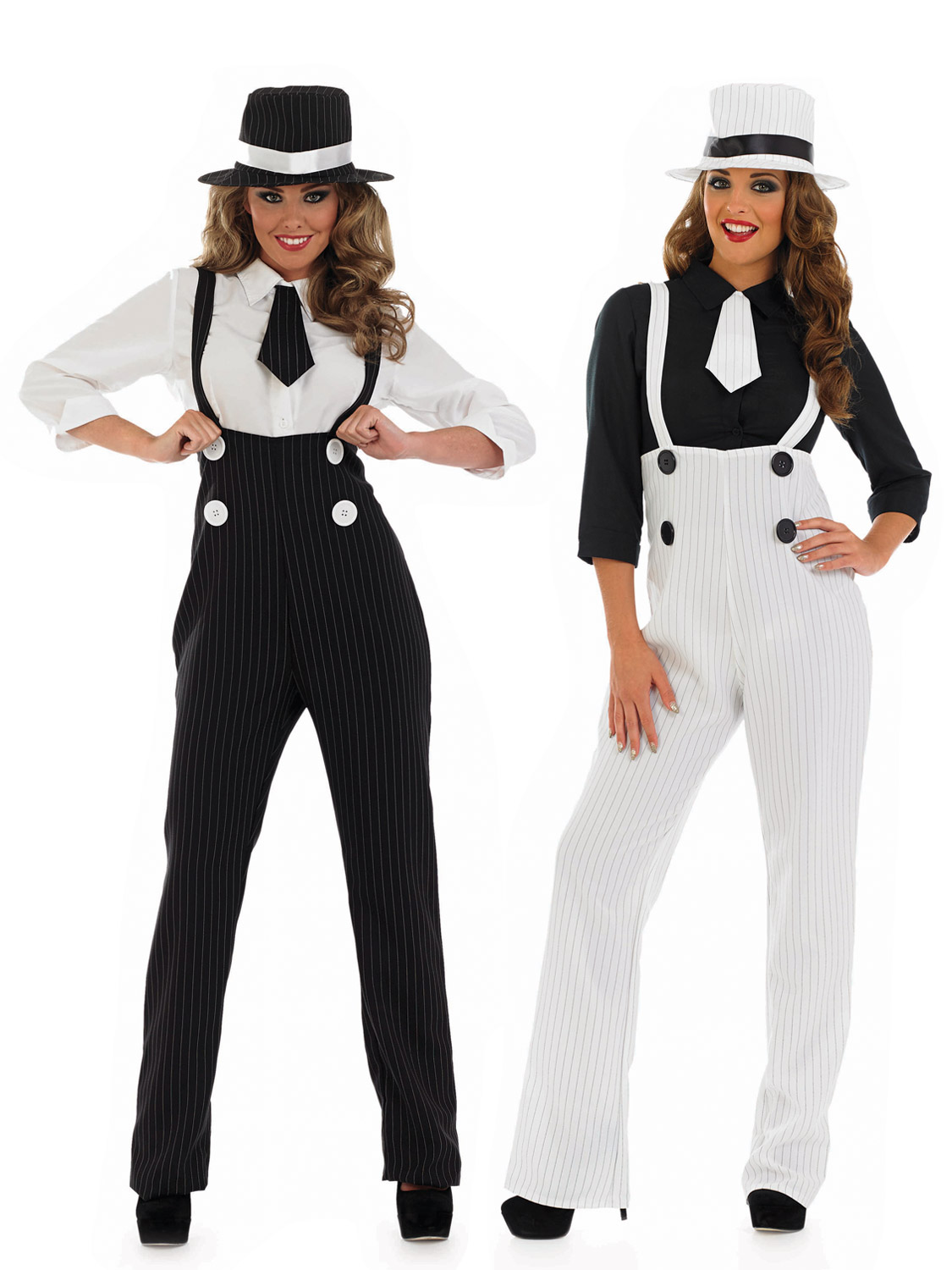 Ladies Pinstripe Gangster Suit Costume Fancy Dress