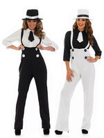 Ladies Gangster Costume - Black or White - Medium