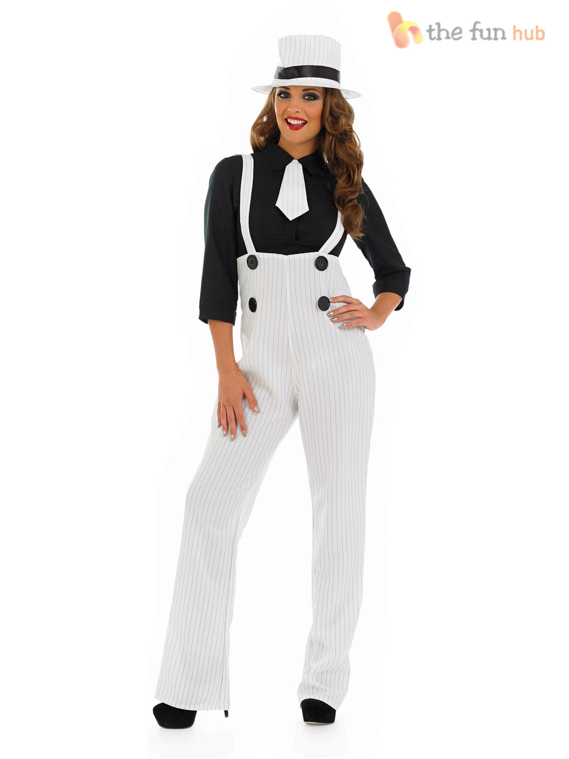 Ladies Pinstripe Gangster Suit Costume Fancy Dress Up 1920s 30s