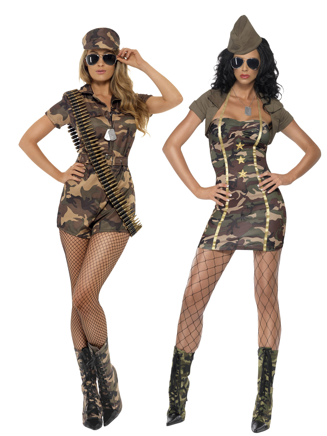 Ladies Army Playsuit Military Uniform Fancy Dress Costume Outfit 4-22 Plus Size