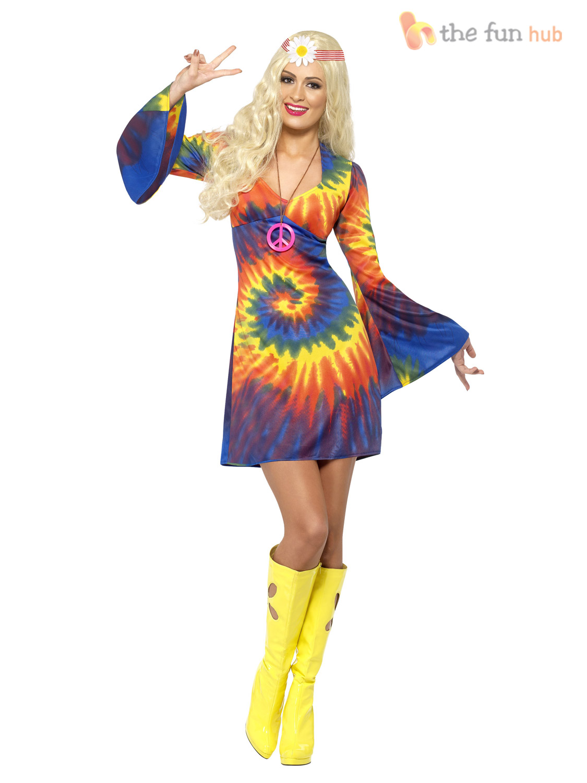 ladies 1960s 1970s hippy fancy dress costume hippie flower. Black Bedroom Furniture Sets. Home Design Ideas