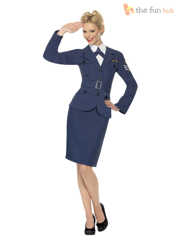 Mens-Ladies-1940s-Airforce-Captain-Fancy-Dress-Uniform-Military-Costume-Couples thumbnail 3