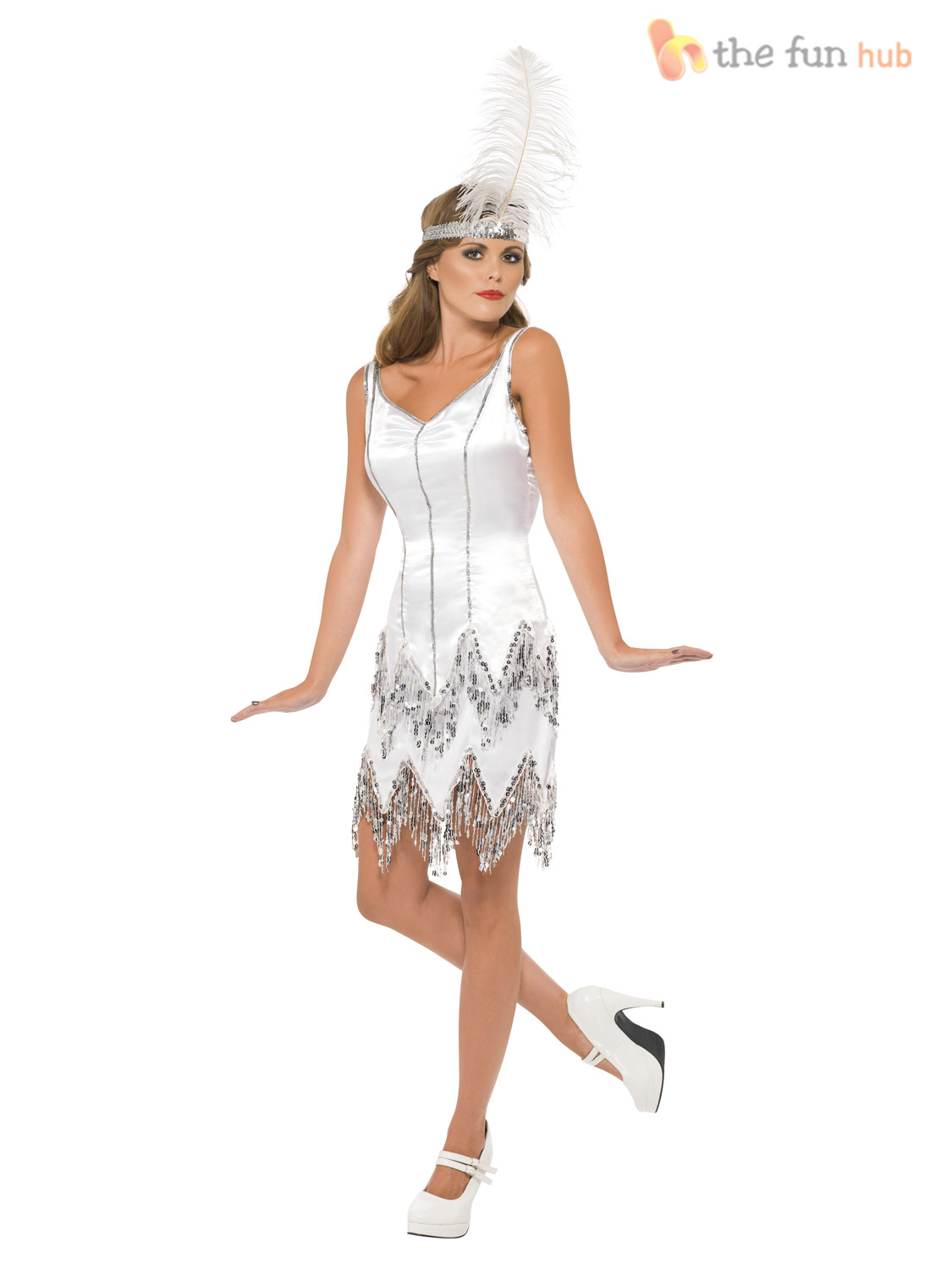 Ladies Fever Sequin Silver Flapper Sexy Womens 1920s Fancy ...
