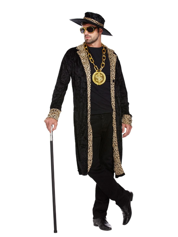 Mens Pimp Fancy Dress Costume Hat 1970s Retro Big Daddy Rapper Gangster Outfit