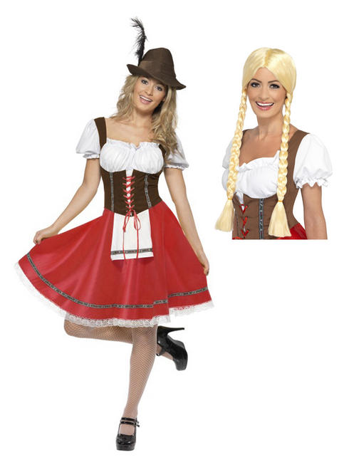 Bavarian Oktoberfest Red Dress & Wig
