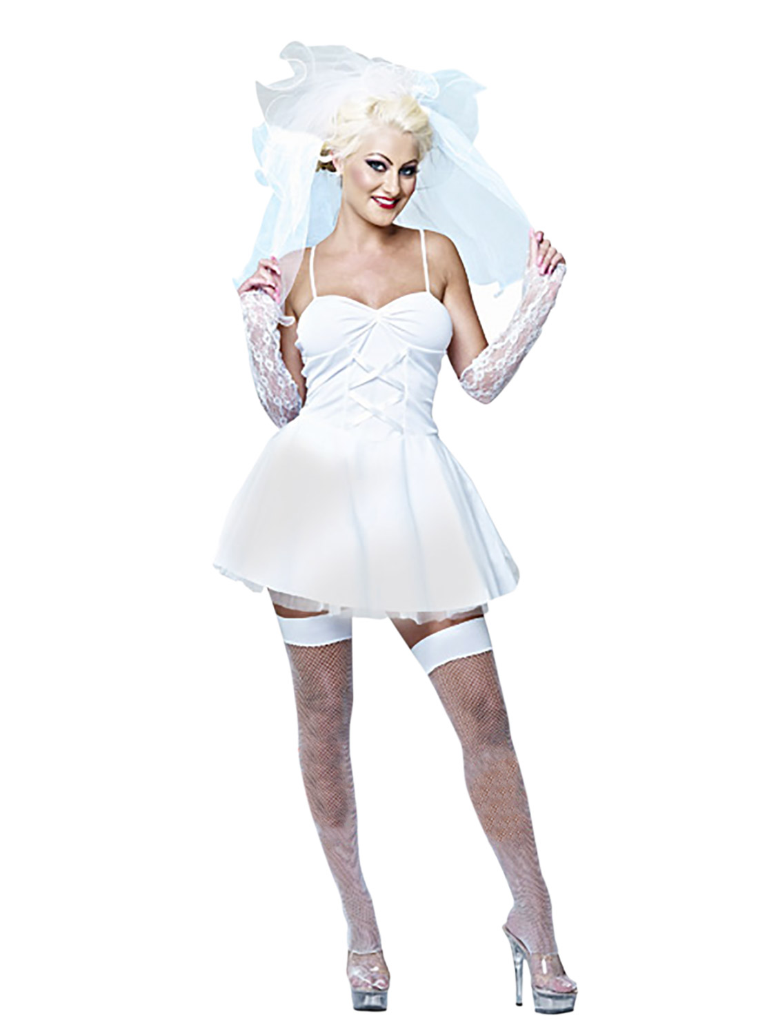 Ladies 80s virgin bride bridal fancy dress hen do party for Wedding party dress up