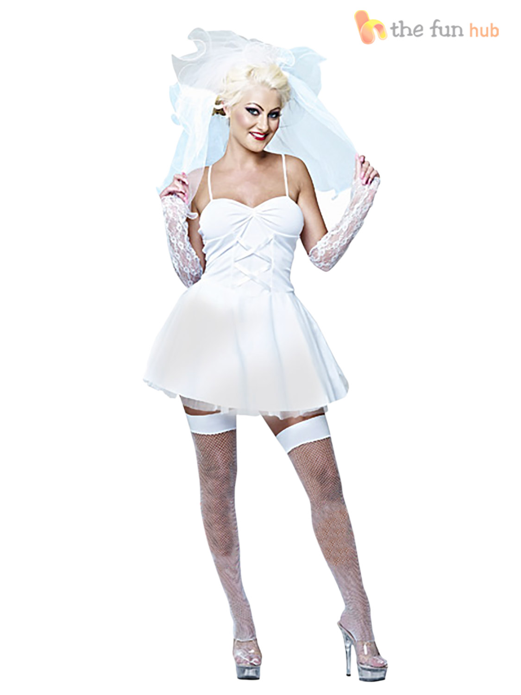 Ladies 80s Virgin Bride Bridal Fancy Dress Hen Do Party Disco Pop ...