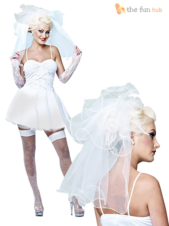 Ladies-80s-Virgin-Bride-Bridal-Fancy-Dress-Hen-Do-Party-Disco-Pop-Icon-Outfit