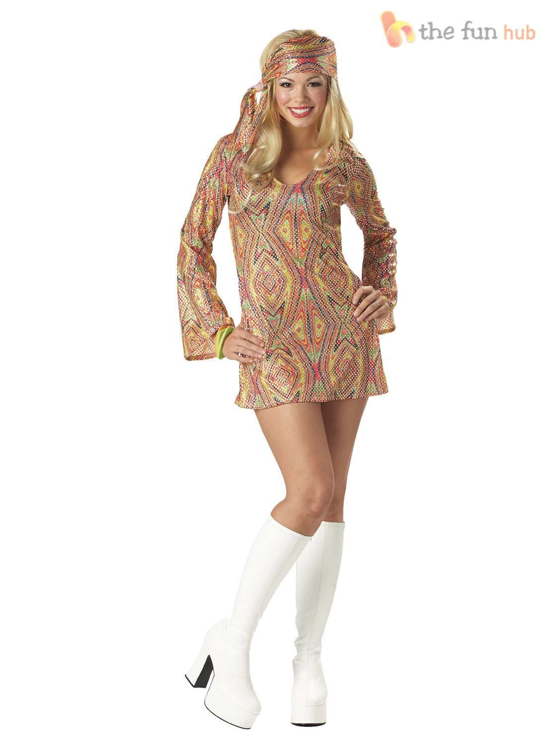 Ladies 1970s Sequinned Disco Fancy Dress Costume Adult Womens Size 8