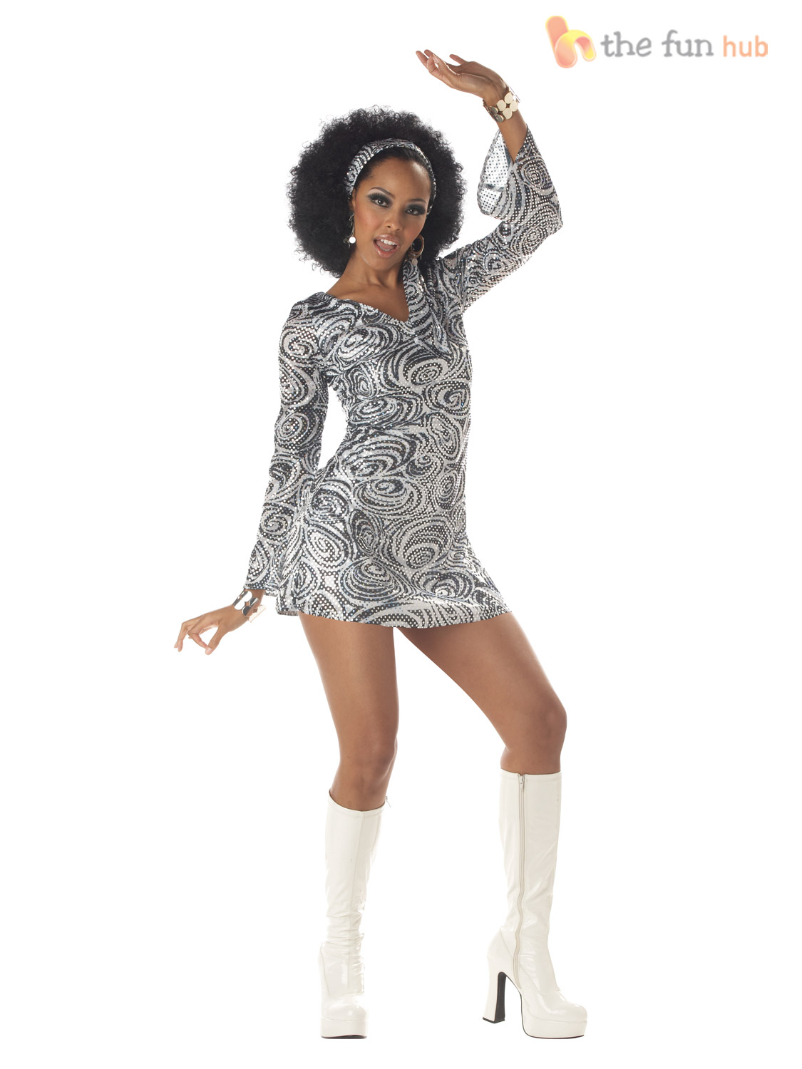 Ladies 1970s Sequinned Disco Fancy Dress Costume Adult ...