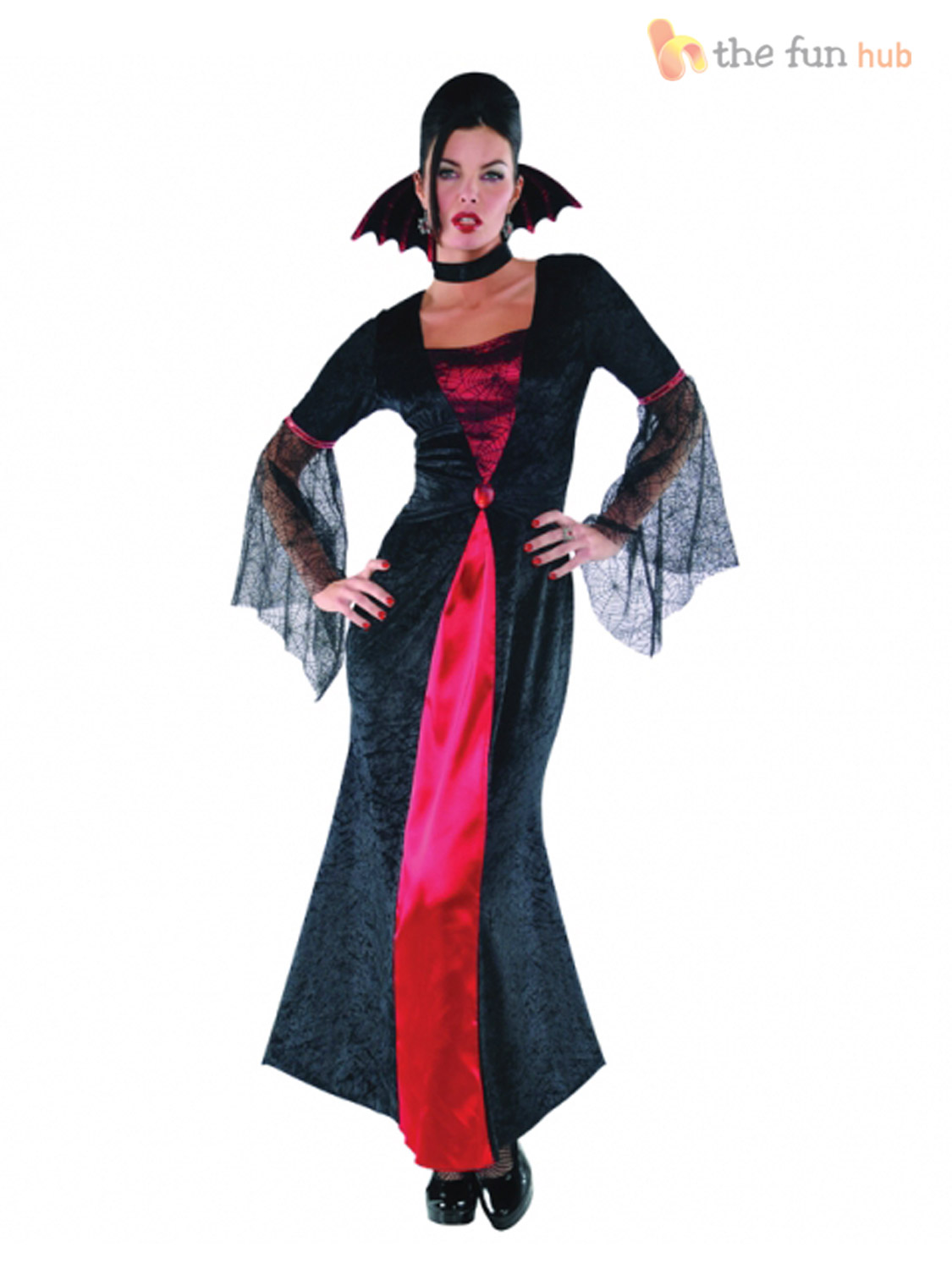 ladies vampire costume long womens vampiress halloween fancy dress adult outfit ebay. Black Bedroom Furniture Sets. Home Design Ideas