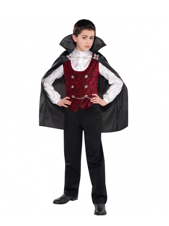 Boys Dark Vampire Costume Very Cool Count Dracula Halloween Kids Fancy Dress
