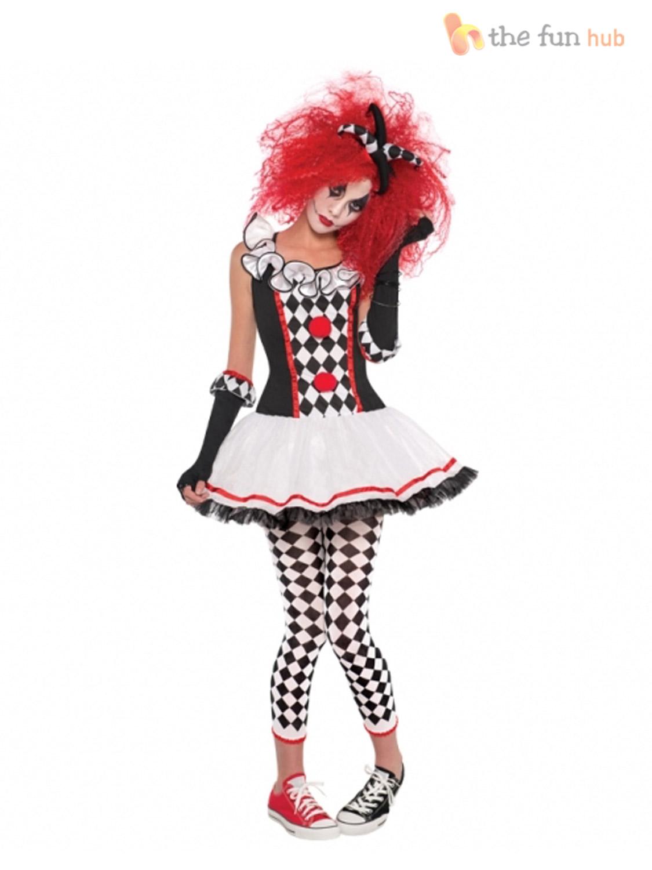 Age-12-16-Teen-Girls-Harlequin-Jester-Clown-  sc 1 st  eBay & Age 12-16 Teen Girls Harlequin Jester Clown Circus Costume Halloween ...