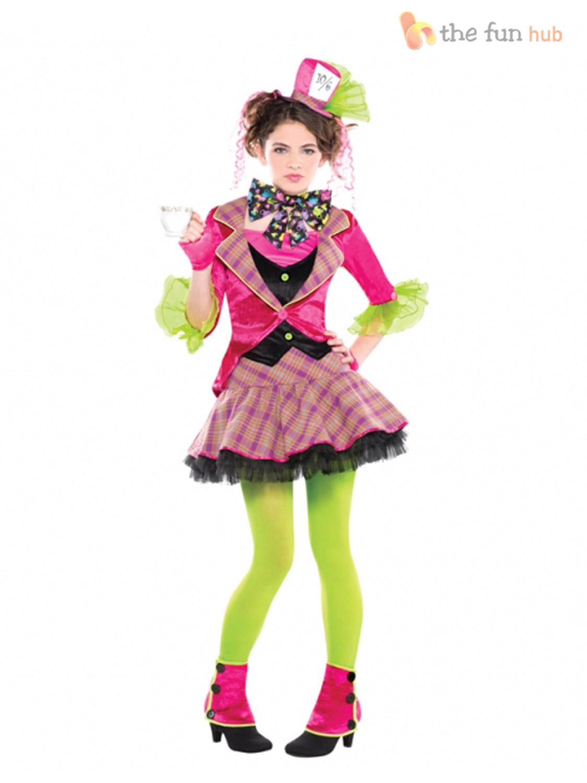 Girls Mad Hatter Costume Tea Party Teen Fancy Dress Book Day Week Outfit Kids Ebay