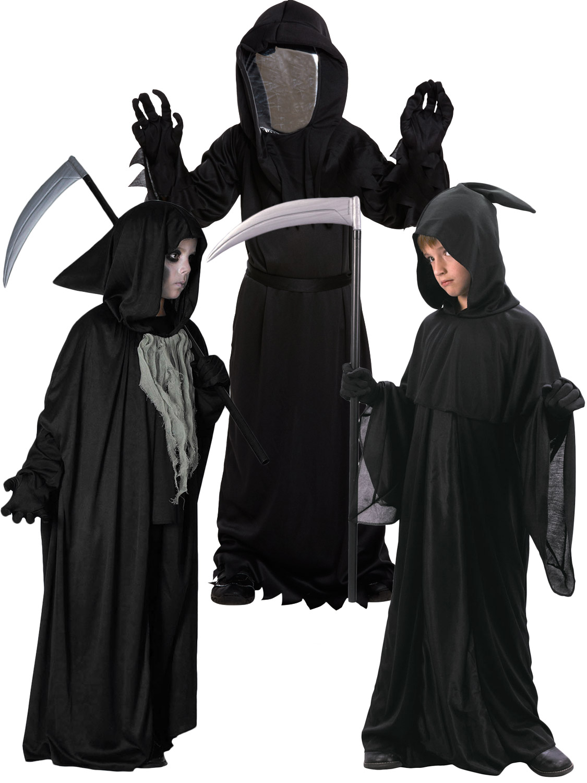 Boys Grim Reaper Costume Kids Halloween Fancy Dress Childrens Horror