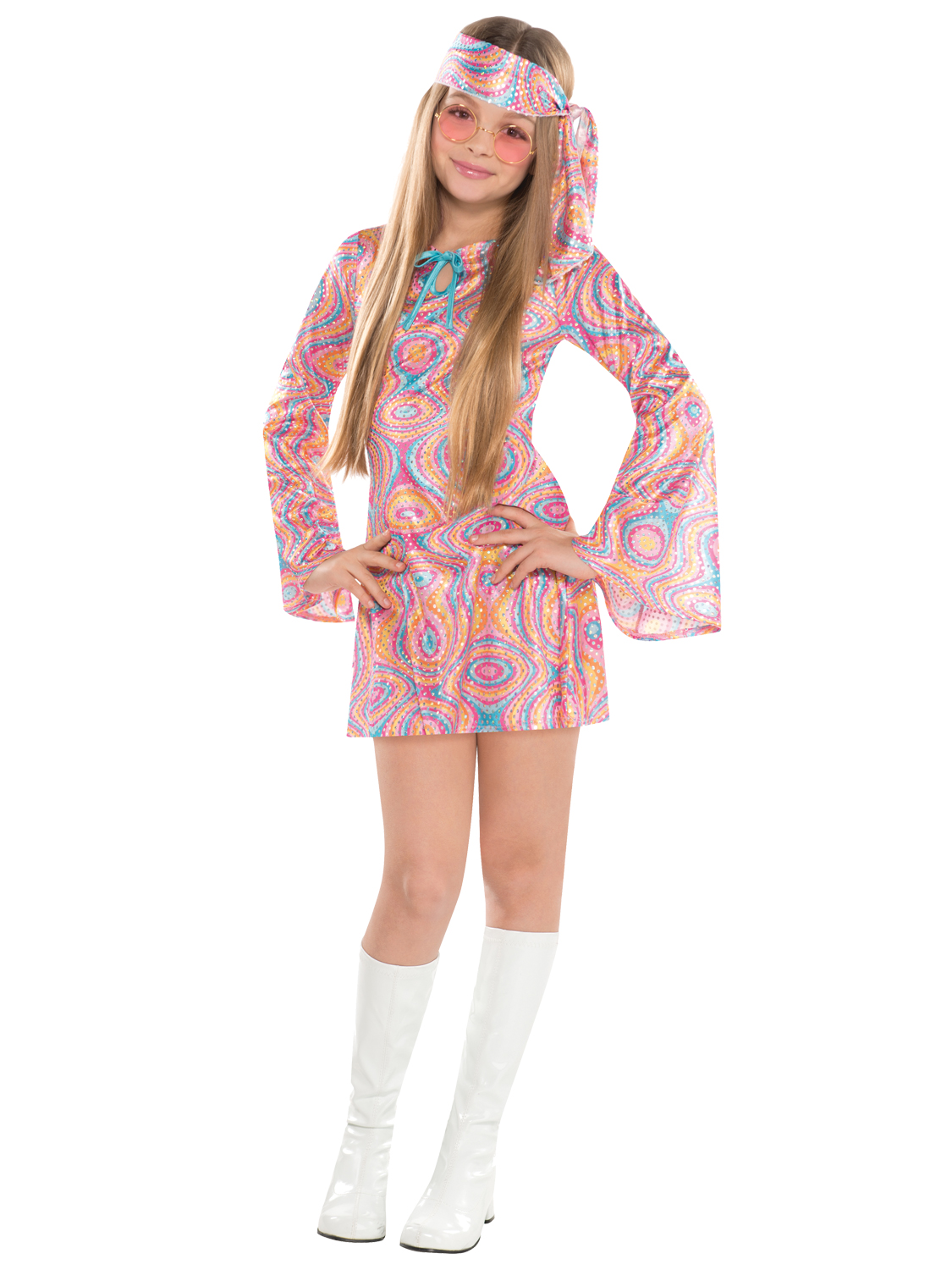 This cute disco a costume features a multicolored swirl printed mini dress decorated with holographic silver spots long bell sleeves and a blue ribbon ...  sc 1 st  eBay & Girls Teen Disco Diva 1970s 60s Fancy Dress Hippy Kids Childrens ...