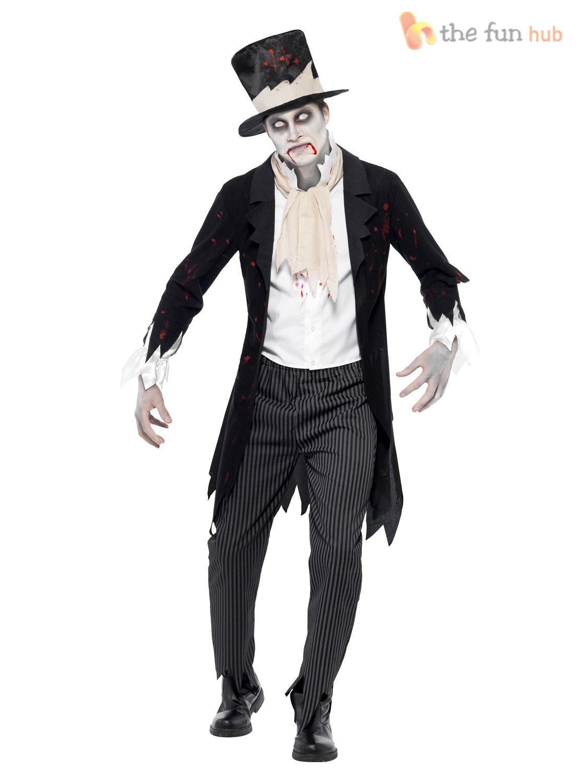 Mens Ladies Zombie Bride + Ghostly Groom Halloween Fancy Dress Costume Outfit - eBay