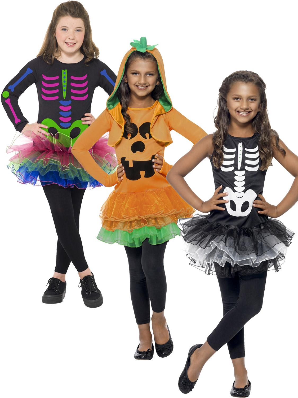 Girls Skeleton Costume Kids Fancy Bones Toddler Halloween Tutu Dress Outfit