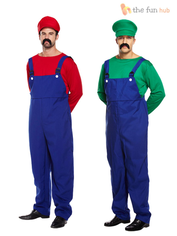 Adult-Mens-Super-Mario-Bros-Mushroom-Toad-Plumber-  sc 1 st  eBay & Adult Mens Super Mario Bros Mushroom Toad Plumber Workman 80s Game ...