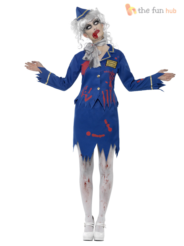 size 8 18 ladies zombie halloween fancy dress costume uniform womens outfit ebay. Black Bedroom Furniture Sets. Home Design Ideas