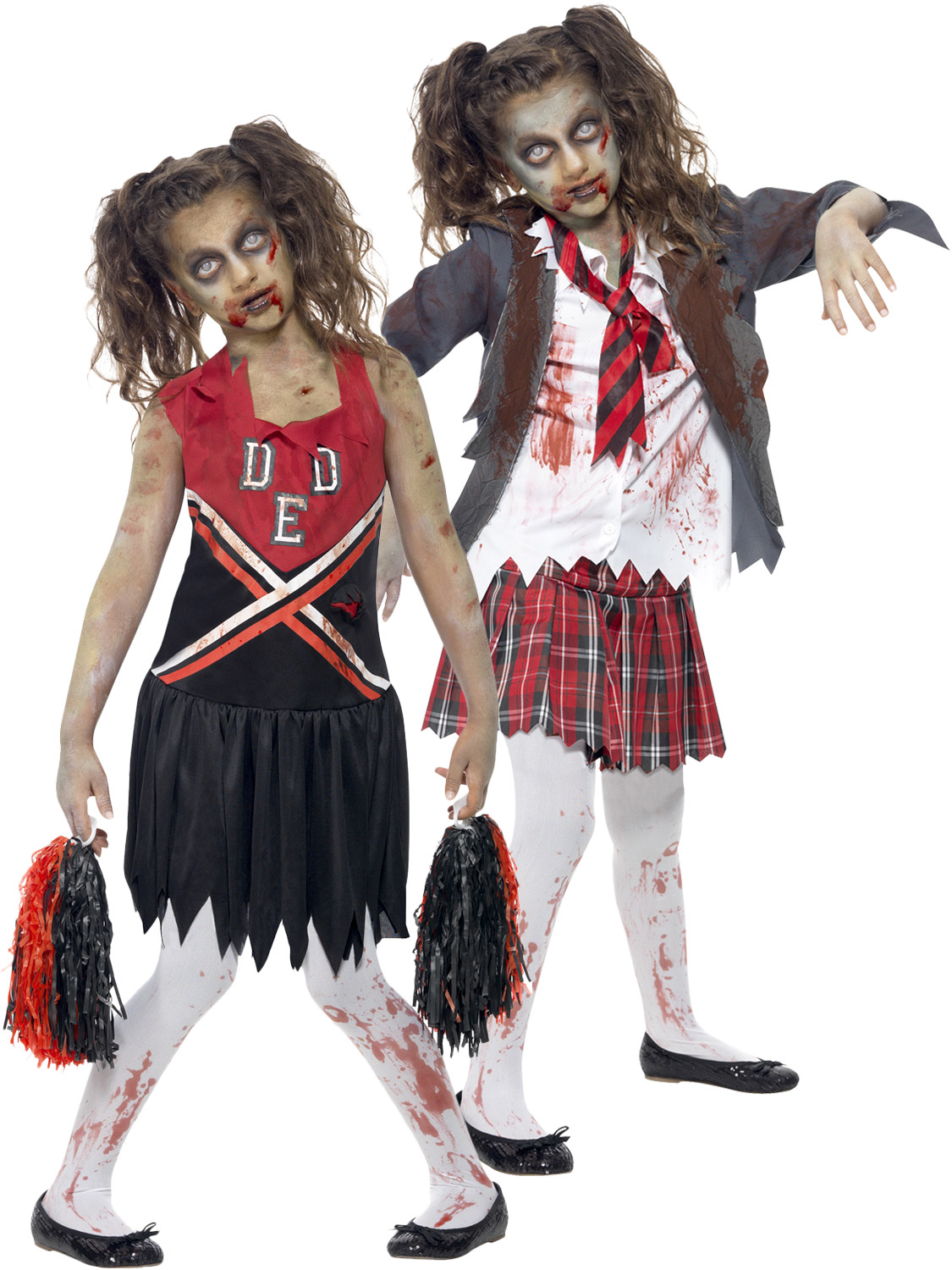 ... Girl Costume Halloween Fancy Dress Party Kids. Image 2  sc 1 st  eBay & Girls Zombie Cheerleader School Girl Costume Halloween Fancy Dress ...