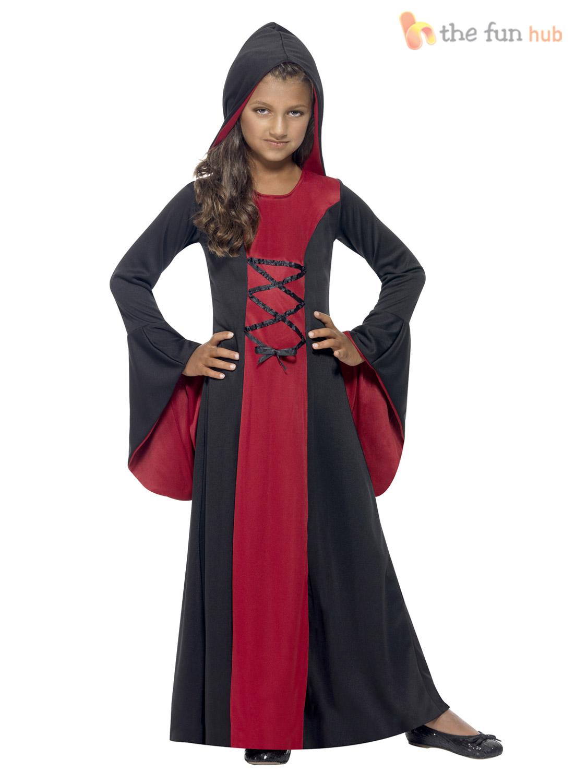 ... Picture 2 of 2  sc 1 st  eBay & Halloween Fancy Dress Girls Hooded Vamp Robe Costume Vampire Outfit ...
