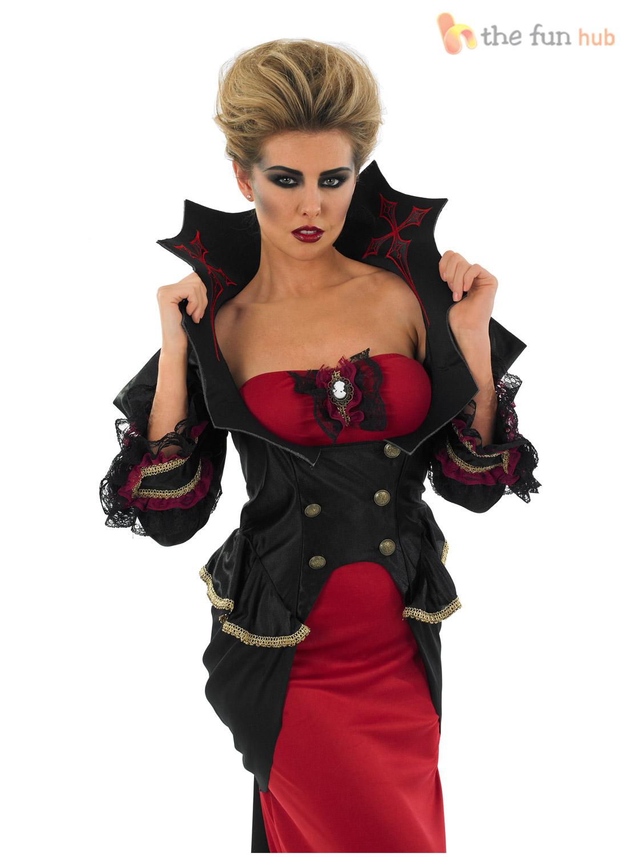 Deluxe-Ladies-V&ire-Costume-Gothic-Halloween-Fancy-Dress-  sc 1 st  eBay & Deluxe Ladies Vampire Costume Gothic Halloween Fancy Dress Womens ...