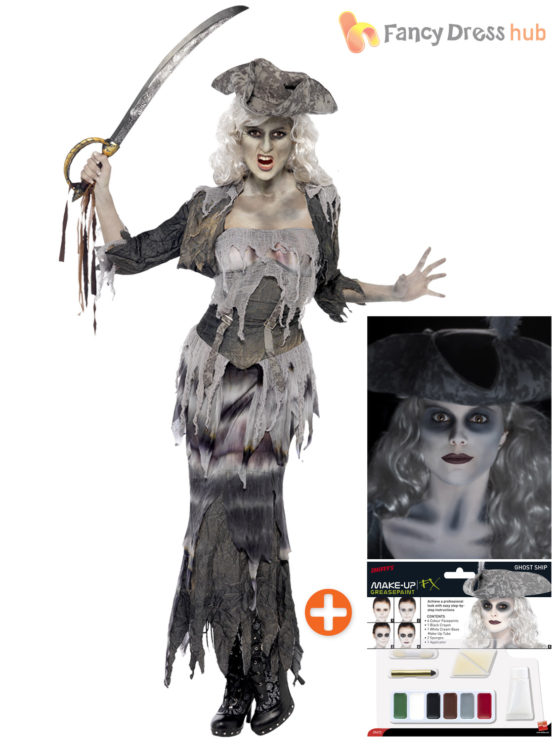 mens ladies ghost zombie pirate costume make up. Black Bedroom Furniture Sets. Home Design Ideas