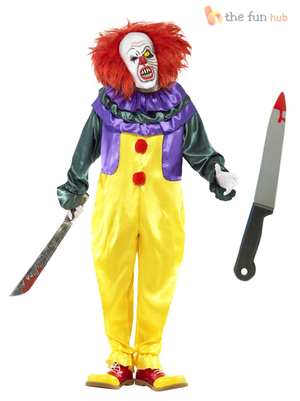 Homme,Effrayant,Tueur,Costume,de,clown,Masque,couteau,