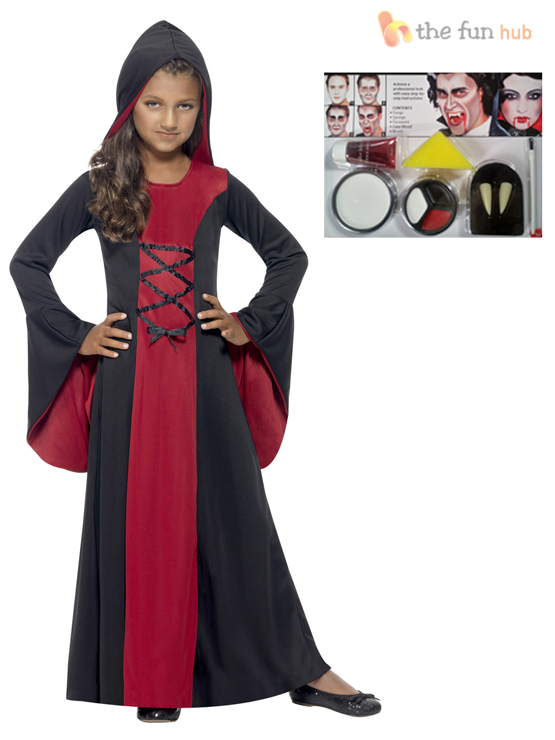 Age-3-10-Girls-Hooded-V&ire-Costume-Make-  sc 1 st  eBay & Age 3-10 Girls Hooded Vampire Costume + Make Up Kit Fancy Dress Kids ...