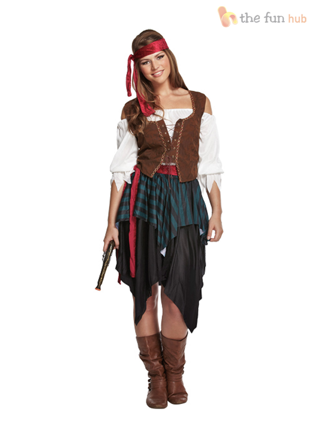 Ladies-Caribbean-Pirate-Wench-Fancy-Dress-Outfit-Womens- Sc 1 St EBay