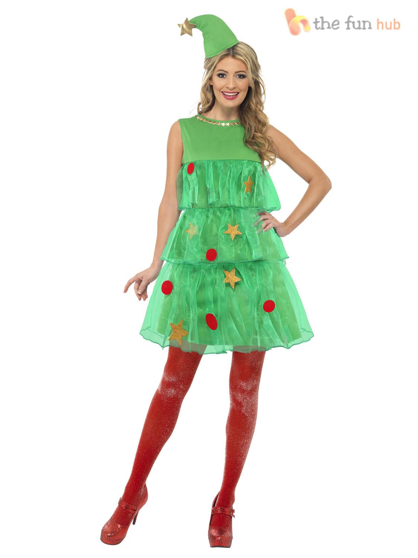 Smiffys Womens Christmas Tree Costume Dress Hat Medium Size in Green ...