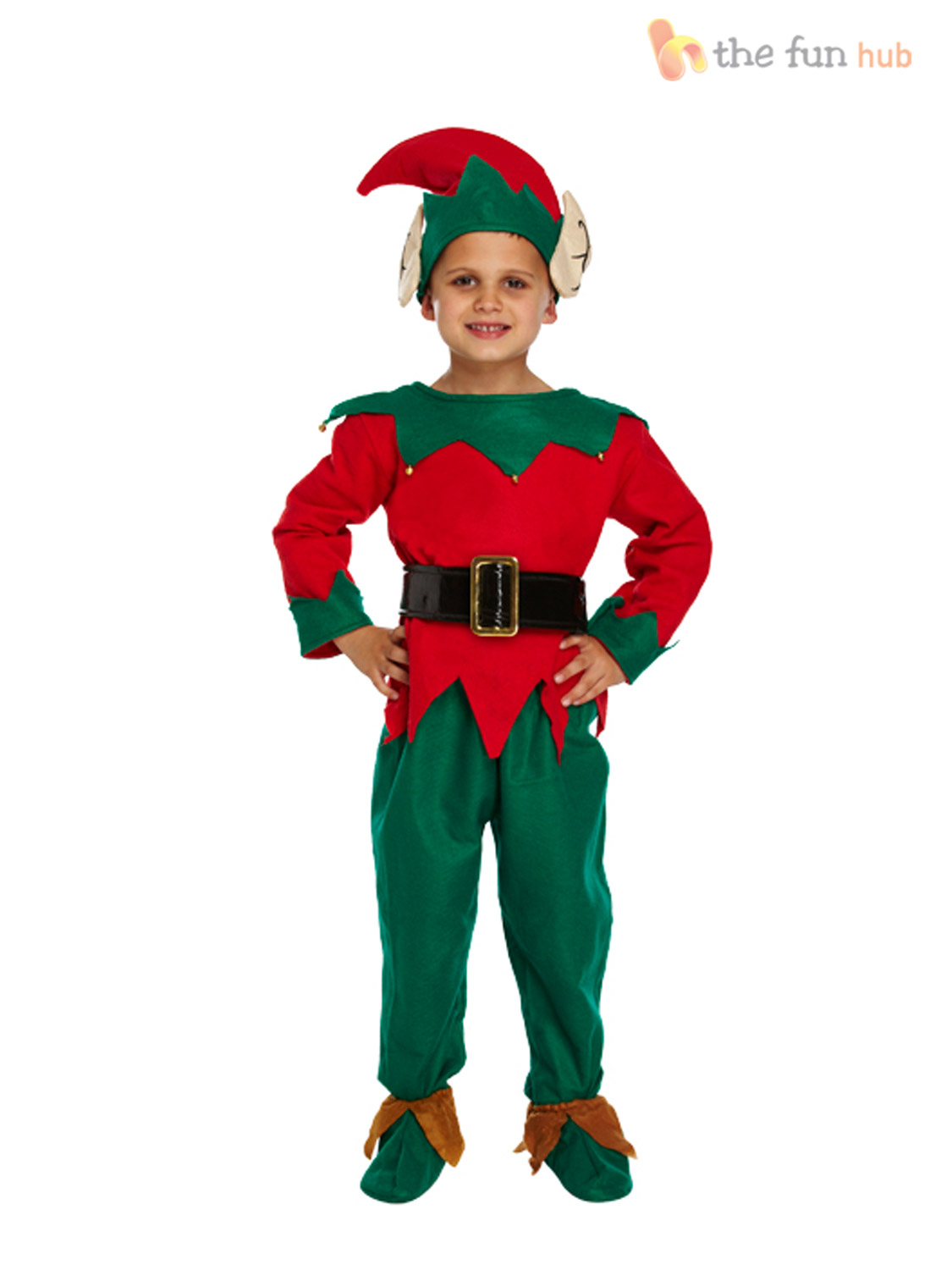 Age-4-12-Kids-Elf-Costume-Hat-Shoes-  sc 1 st  eBay & Age 4- 12 Kids Elf Costume Hat + Shoes Boys Childs Christmas Fancy ...