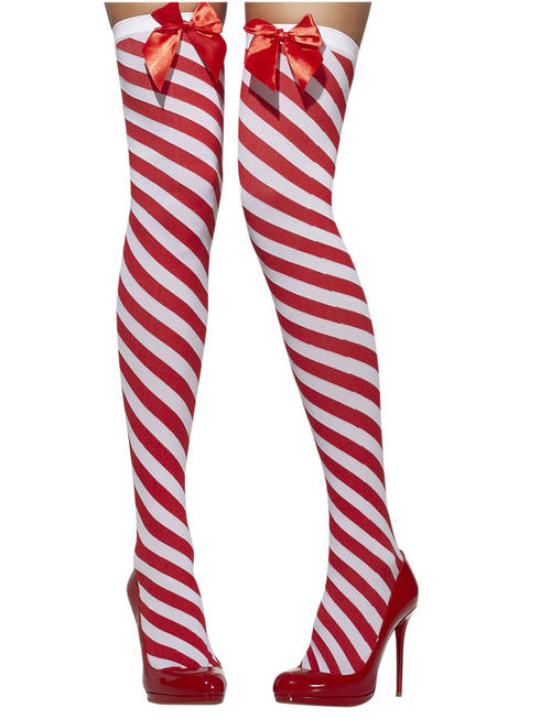 Ladies Red & White Candy Striped Stockings