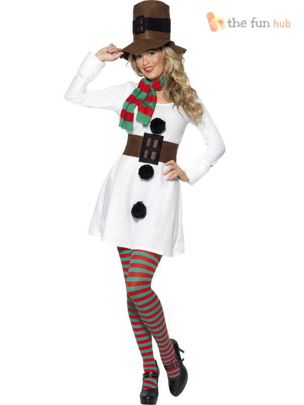 Ladies Miss Snowman Costume White Christmas Party Outfit Santa ...